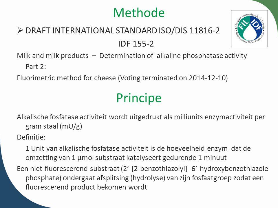 DRAFT INTERNATIONAL STANDARD ISO/DIS 11816-2 IDF 155-2 Scope De standaard beschrijft een fluorimetrische methode voor de bepaling van alkalische fosfatase (ALP, EC 3.1.3.1) activiteit in kaas De methode kan gebruikt worden voor: zachte kazen (bv.
