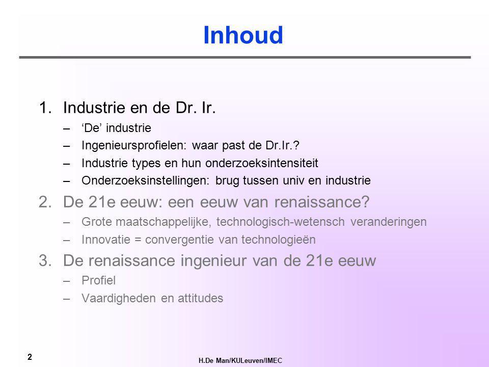 H.De Man/KULeuven/IMEC 1 De ingenieur van de 21e eeuw: een renaissance ir.