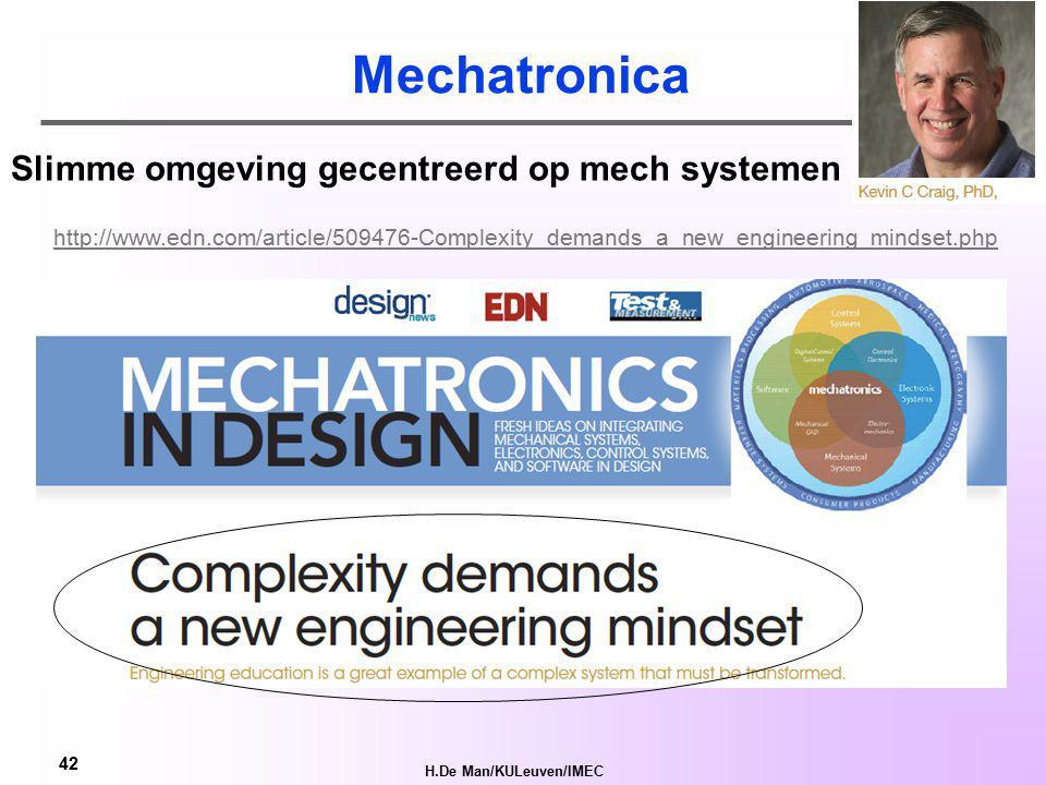 H.De Man/KULeuven/IMEC 41 AmI verandert de manier waarop de mens zijn omgeving beleeft Vereist holistische benadering: Van samenlevingscultuur naar technologie (social innovation) Nood aan renaissance ingenieurs.