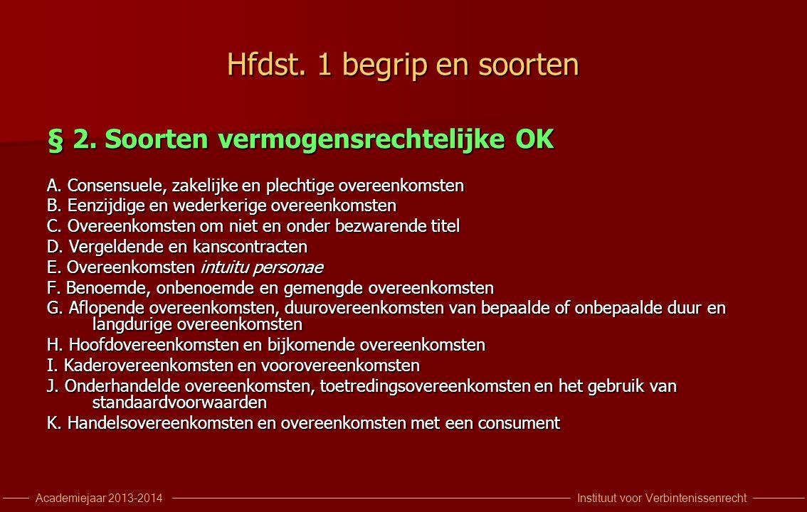 Instituut voor VerbintenissenrechtAcademiejaar 2013-2014 Hfdst. 1 begrip en soorten § 2. Soorten vermogensrechtelijke OK A. Consensuele, zakelijke en