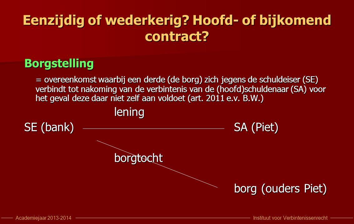 Instituut voor VerbintenissenrechtAcademiejaar 2013-2014 Eenzijdig of wederkerig? Hoofd- of bijkomend contract? Borgstelling = overeenkomst waarbij ee