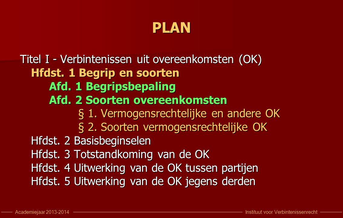 Instituut voor VerbintenissenrechtAcademiejaar 2013-2014 PLAN Titel I - Verbintenissen uit overeenkomsten (OK) Hfdst. 1 Begrip en soorten Afd. 1 Begri