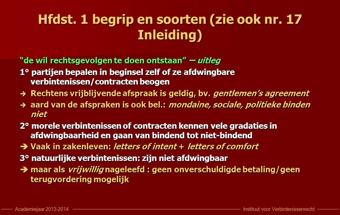 """Instituut voor VerbintenissenrechtAcademiejaar 2013-2014 Hfdst. 1 begrip en soorten (zie ook nr. 17 Inleiding) """"de wil rechtsgevolgen te doen ontstaan"""