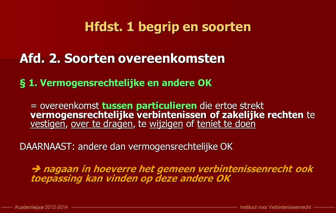 Instituut voor VerbintenissenrechtAcademiejaar 2013-2014 Hfdst. 1 begrip en soorten Afd. 2. Soorten overeenkomsten § 1. Vermogensrechtelijke en andere