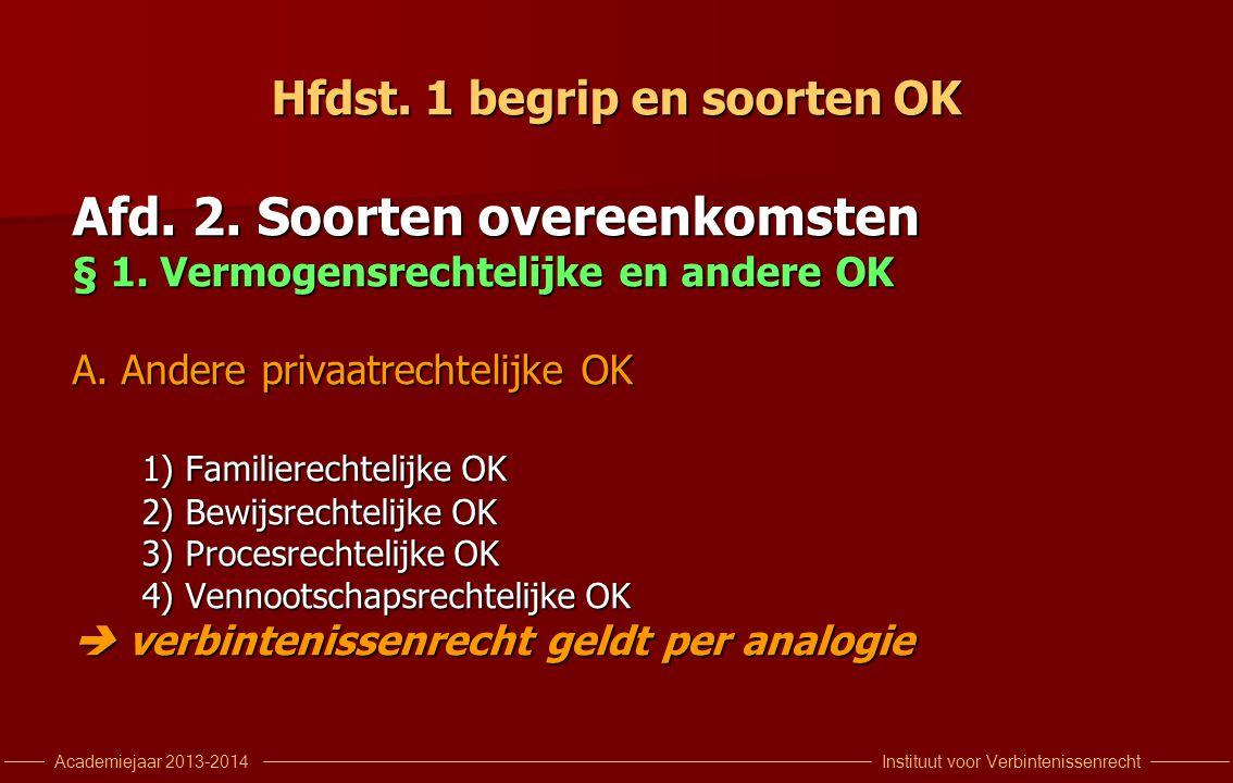 Instituut voor VerbintenissenrechtAcademiejaar 2013-2014 Hfdst. 1 begrip en soorten OK Afd. 2. Soorten overeenkomsten § 1. Vermogensrechtelijke en and