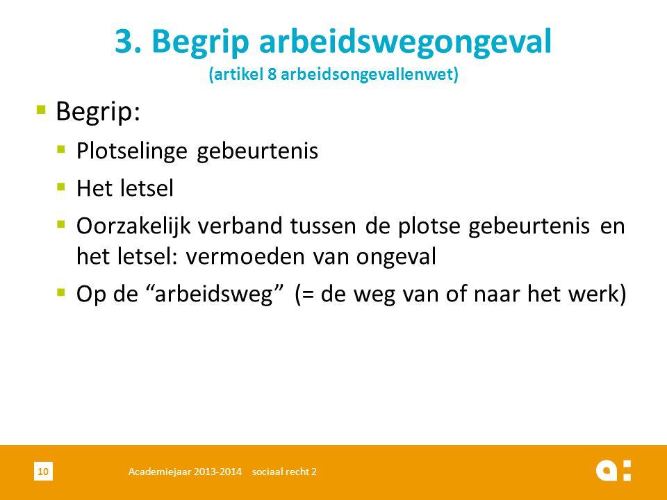 Academiejaar 2013-2014 sociaal recht 210 3. Begrip arbeidswegongeval (artikel 8 arbeidsongevallenwet)  Begrip:  Plotselinge gebeurtenis  Het letsel