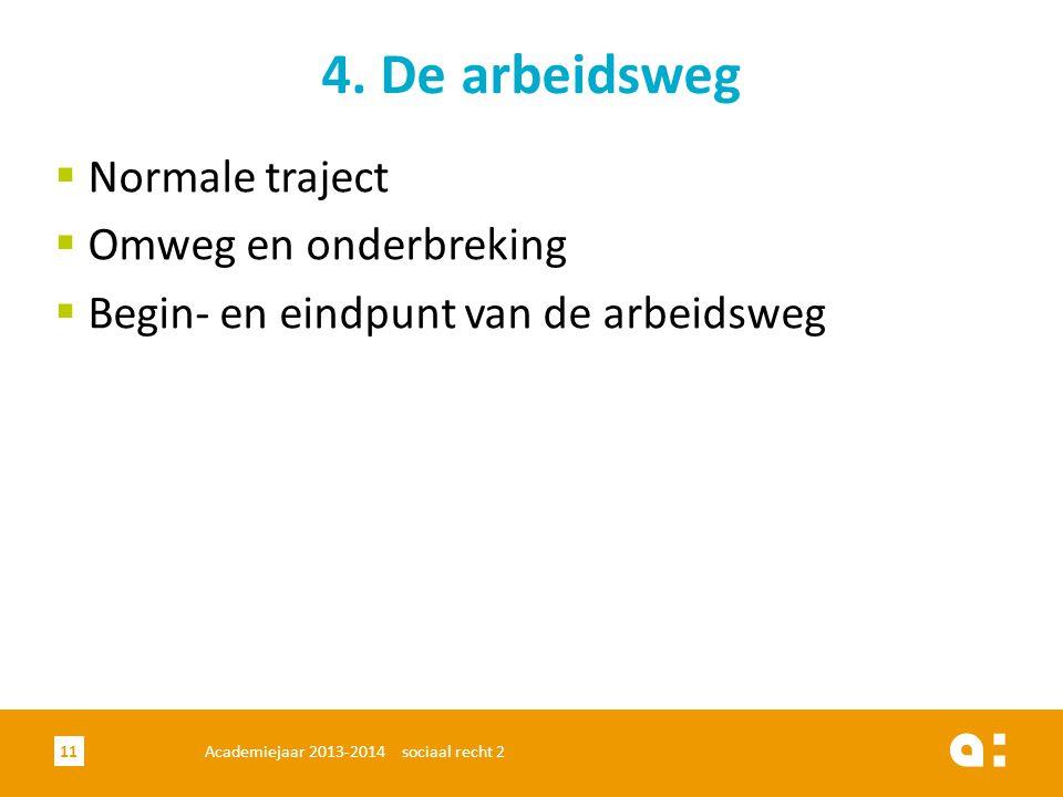 Academiejaar 2013-2014 sociaal recht 211 4. De arbeidsweg  Normale traject  Omweg en onderbreking  Begin- en eindpunt van de arbeidsweg