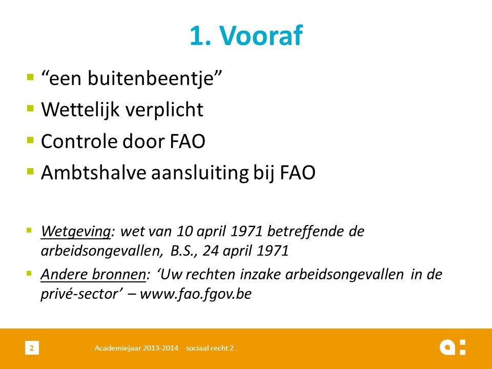 """Academiejaar 2013-2014 sociaal recht 22 1. Vooraf  """"een buitenbeentje""""  Wettelijk verplicht  Controle door FAO  Ambtshalve aansluiting bij FAO  W"""