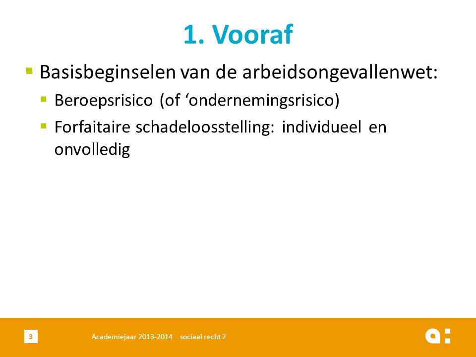  Basisbeginselen van de arbeidsongevallenwet:  Beroepsrisico (of 'ondernemingsrisico)  Forfaitaire schadeloosstelling: individueel en onvolledig 1.
