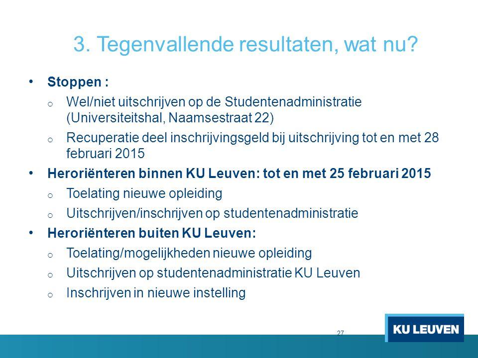 27 3. Tegenvallende resultaten, wat nu? Stoppen : o Wel/niet uitschrijven op de Studentenadministratie (Universiteitshal, Naamsestraat 22) o Recuperat