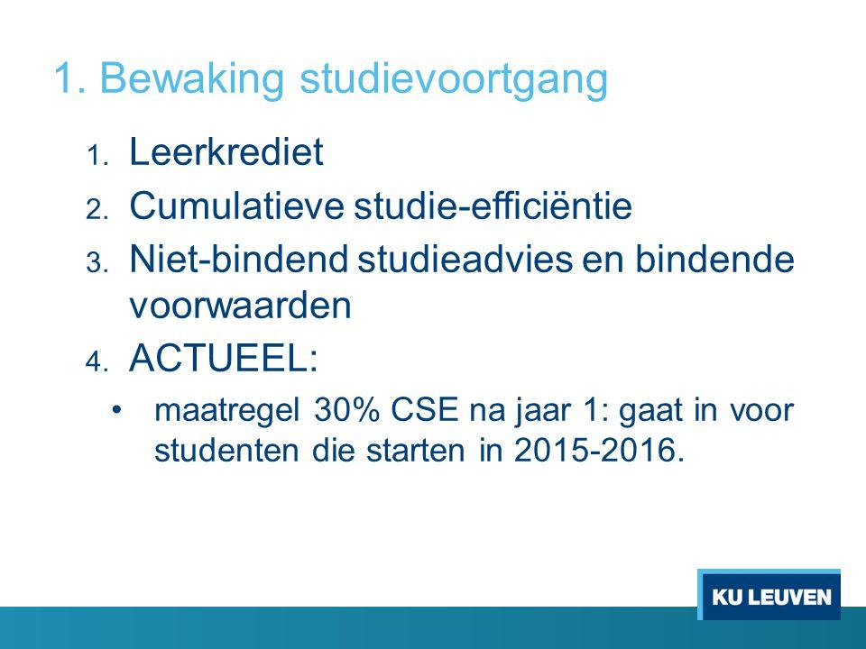 1. Bewaking studievoortgang 1. Leerkrediet 2. Cumulatieve studie-efficiëntie 3. Niet-bindend studieadvies en bindende voorwaarden 4. ACTUEEL: maatrege