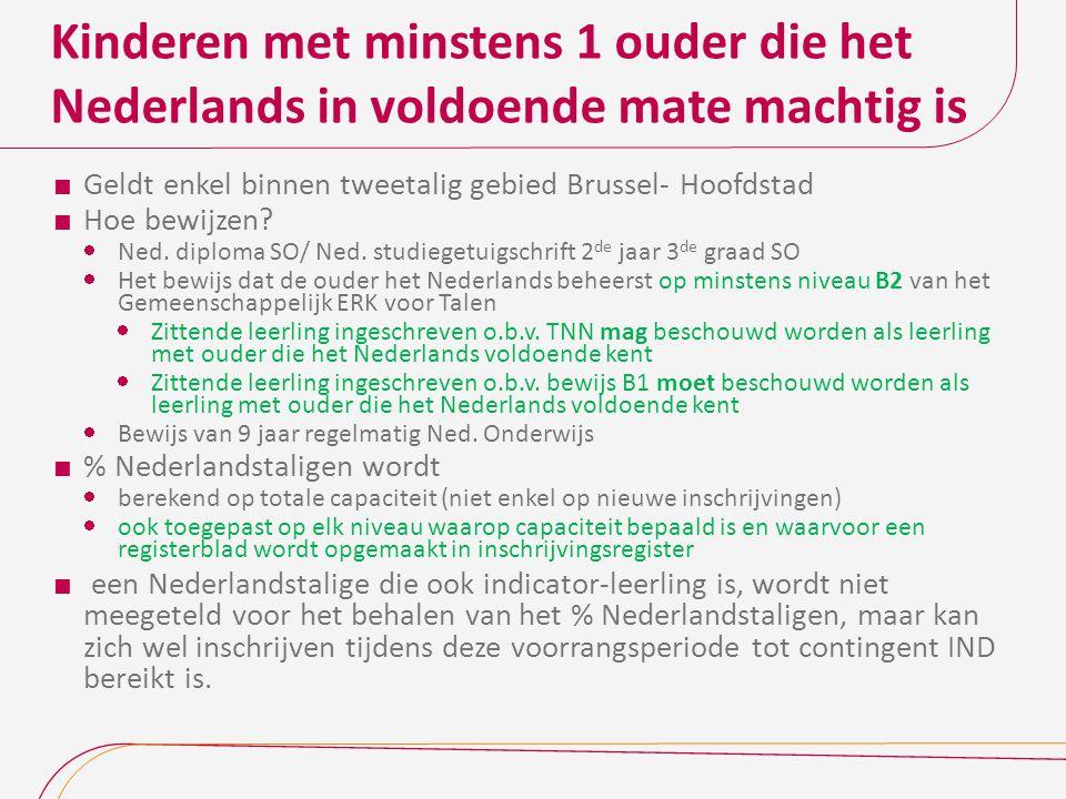 Kinderen met minstens 1 ouder die het Nederlands in voldoende mate machtig is  Geldt enkel binnen tweetalig gebied Brussel- Hoofdstad  Hoe bewijzen.