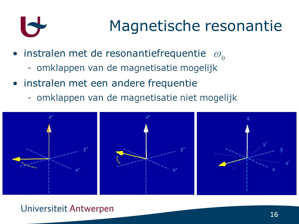 16 Magnetische resonantie instralen met de resonantiefrequentie instralen met een andere frequentie -omklappen van de magnetisatie mogelijk -omklappen