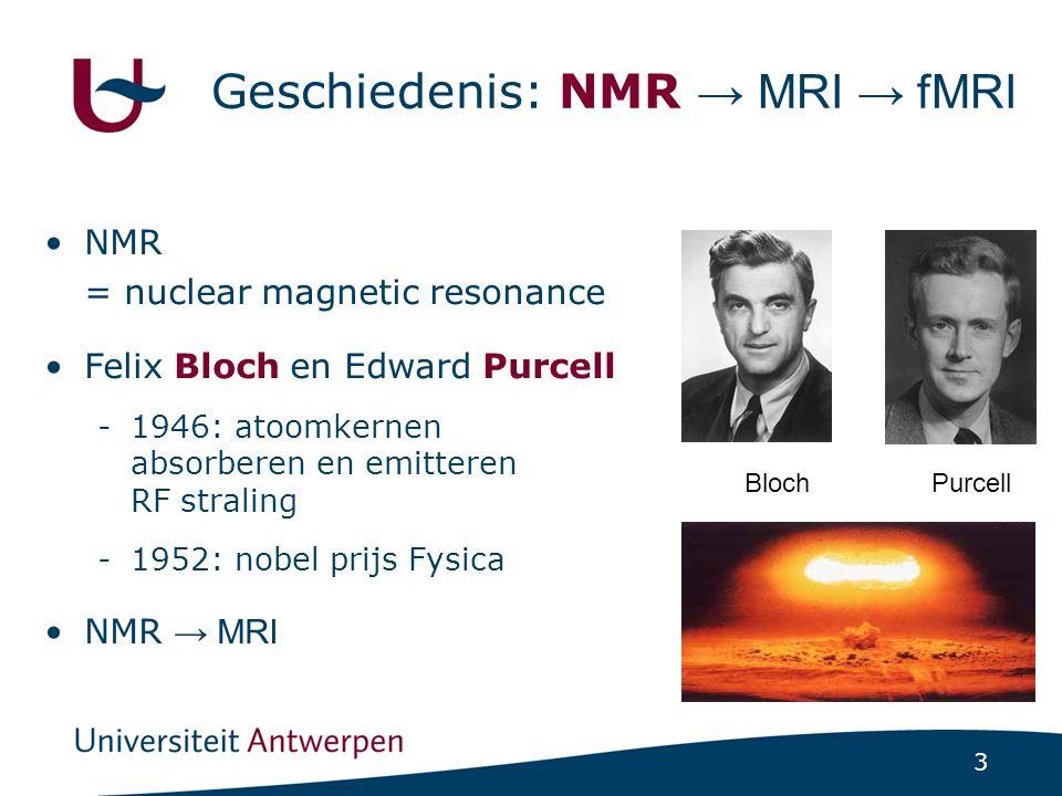 3 BlochPurcell Geschiedenis: NMR → MRI → fMRI NMR = nuclear magnetic resonance Felix Bloch en Edward Purcell -1946: atoomkernen absorberen en emittere
