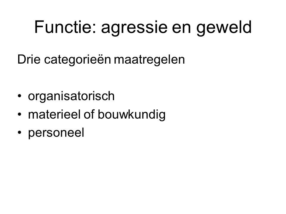Functie: agressie en geweld Drie categorieën maatregelen organisatorisch materieel of bouwkundig personeel