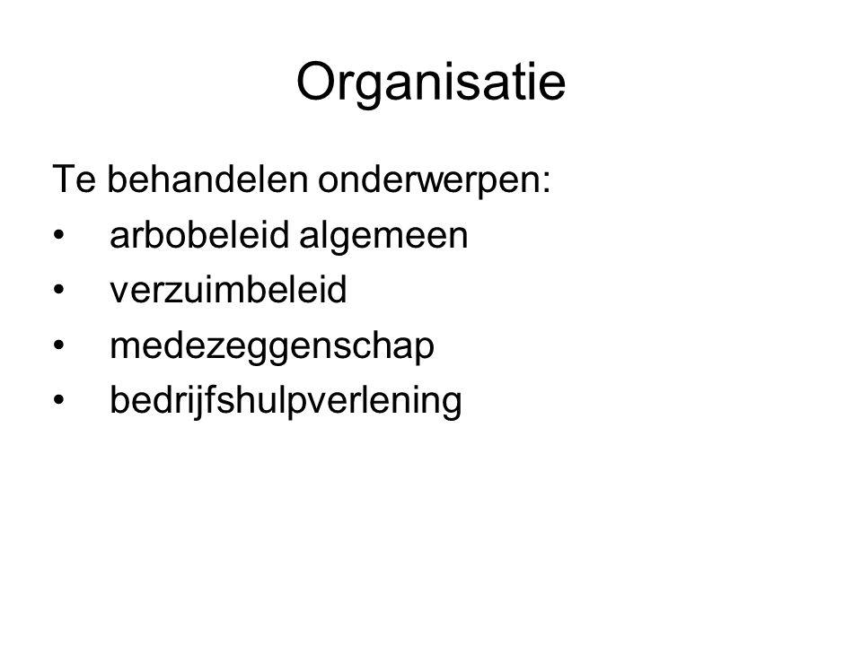 Organisatie Te behandelen onderwerpen: arbobeleid algemeen verzuimbeleid medezeggenschap bedrijfshulpverlening