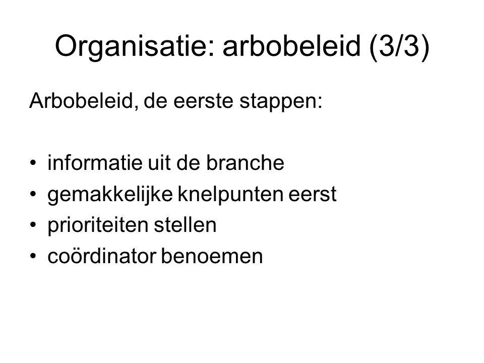 Organisatie: arbobeleid (3/3) Arbobeleid, de eerste stappen: informatie uit de branche gemakkelijke knelpunten eerst prioriteiten stellen coördinator
