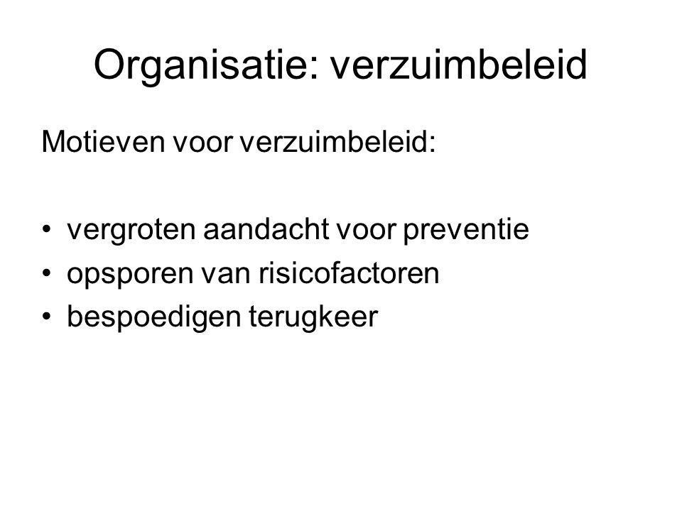 Organisatie: verzuimbeleid Motieven voor verzuimbeleid: vergroten aandacht voor preventie opsporen van risicofactoren bespoedigen terugkeer