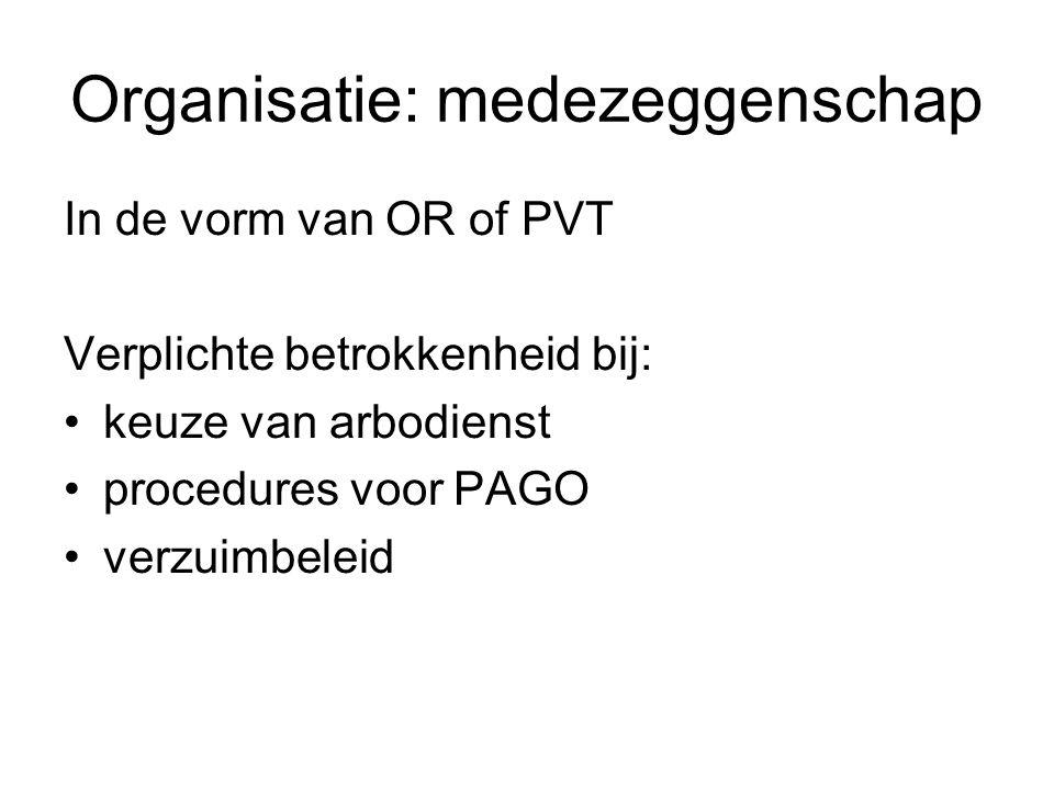 Organisatie: medezeggenschap In de vorm van OR of PVT Verplichte betrokkenheid bij: keuze van arbodienst procedures voor PAGO verzuimbeleid