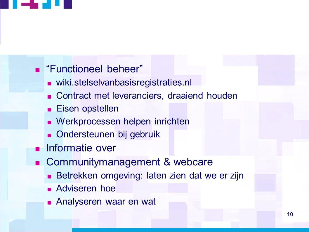 """10  """"Functioneel beheer""""  wiki.stelselvanbasisregistraties.nl  Contract met leveranciers, draaiend houden  Eisen opstellen  Werkprocessen helpen"""