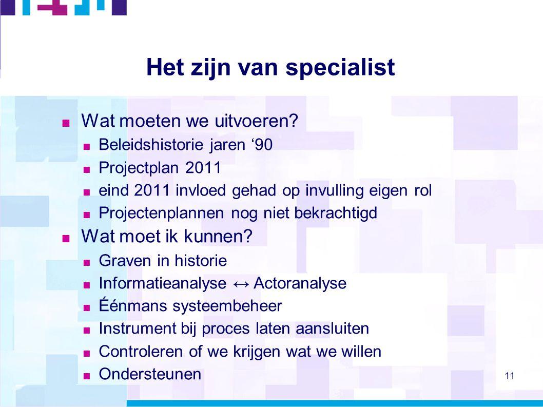 11 Het zijn van specialist  Wat moeten we uitvoeren?  Beleidshistorie jaren '90  Projectplan 2011  eind 2011 invloed gehad op invulling eigen rol
