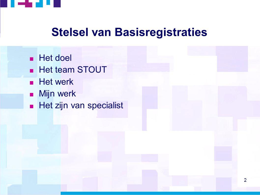 3 Het onderwerp  Basisregistraties: 13 eenduidige databanken voor kernprocessen van overheden  Verplicht gebruik  Verplicht (?) terugmelden bij 'gerede twijfel' juistheid GBA - Gemeentelijke Basisadministratie persoonsgegevens NHR - Nieuwe Handelsregister BAG - Basisregistratie(s) Adressen en Gebouwen BRT - Basisregistratie Topografie BRK - Basisregistratie Kadaster BRV - Basisregistratie Voertuigen (kentekenregistratie) BLAU - Basisregistratie lonen, arbeids en uitkeringsverhoudingen BRI - Basisregistratie Inkomens WOZ - Basisregistratie Onroerende Zaken RNI - Registratie Niet Ingezetenen BGT - Basisregistratie Grootschalige Topografie (voorheen GBKN) BRO - Basisregistratie Ondergrond (voorheen ook wel DINO)