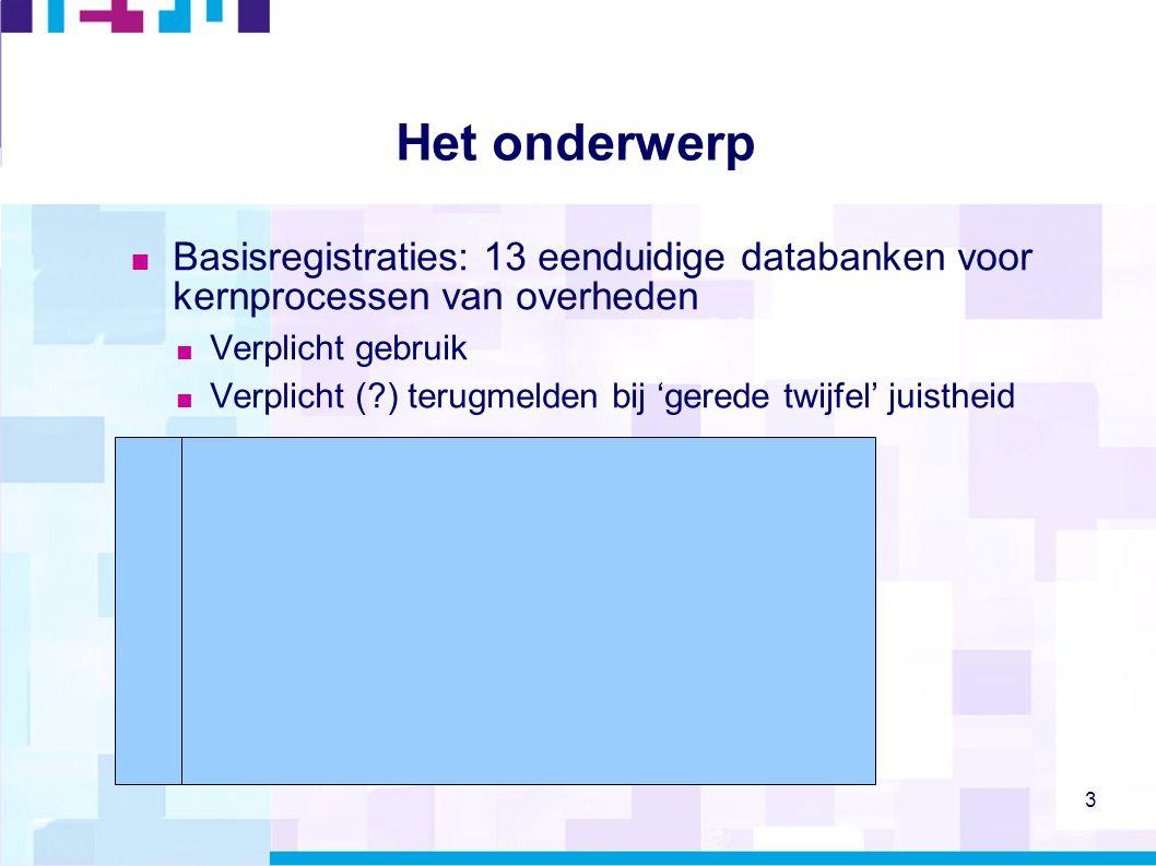 3 Het onderwerp  Basisregistraties: 13 eenduidige databanken voor kernprocessen van overheden  Verplicht gebruik  Verplicht (?) terugmelden bij 'ge