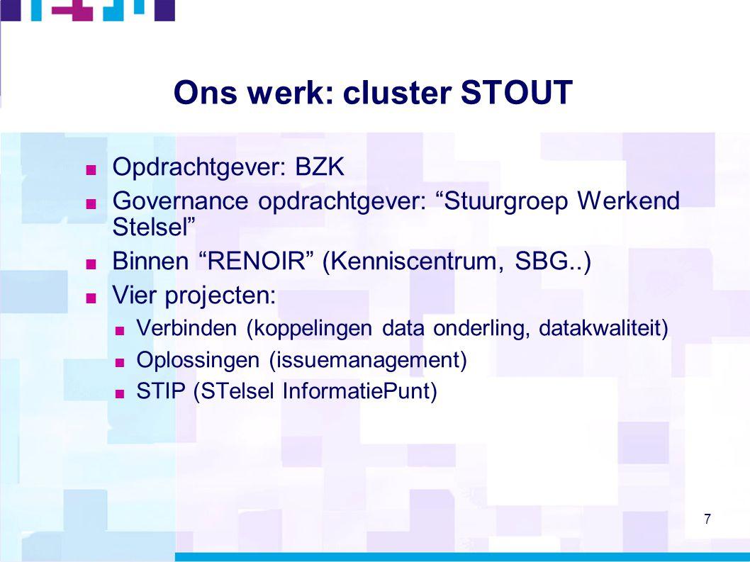 "7 Ons werk: cluster STOUT  Opdrachtgever: BZK  Governance opdrachtgever: ""Stuurgroep Werkend Stelsel""  Binnen ""RENOIR"" (Kenniscentrum, SBG..)  Vie"