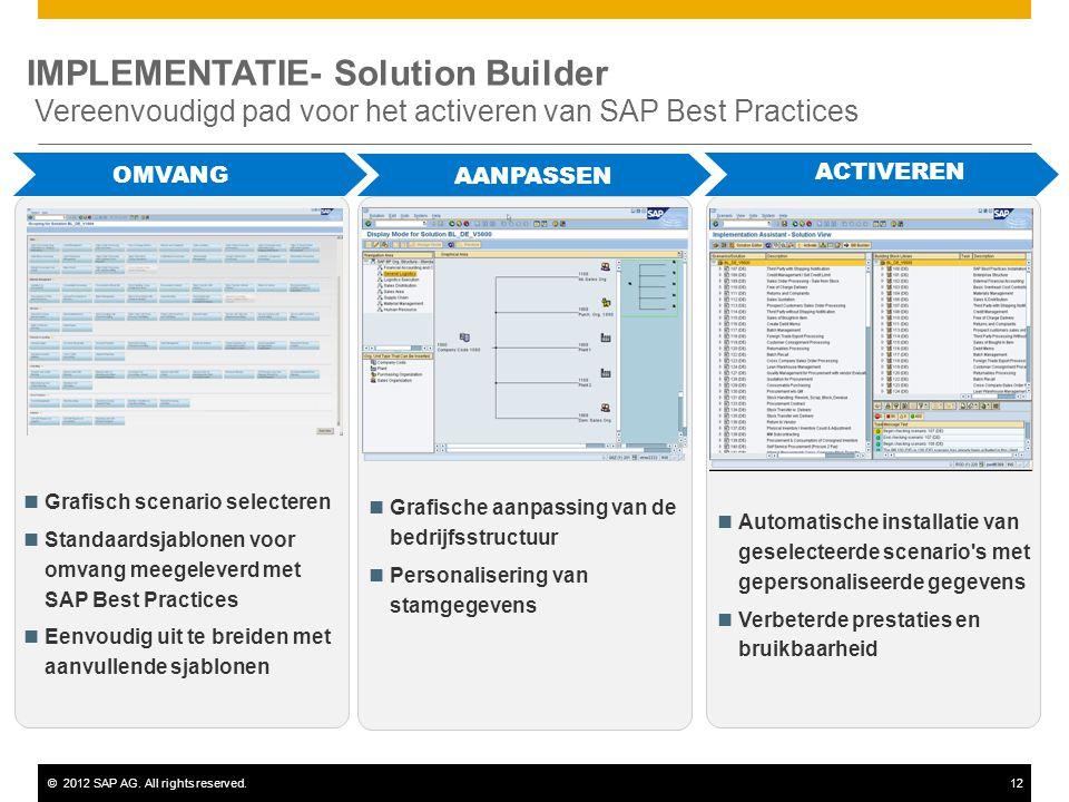 ©2012 SAP AG. All rights reserved.12 IMPLEMENTATIE- Solution Builder Vereenvoudigd pad voor het activeren van SAP Best Practices PÉRIMÈTRE Grafisch sc