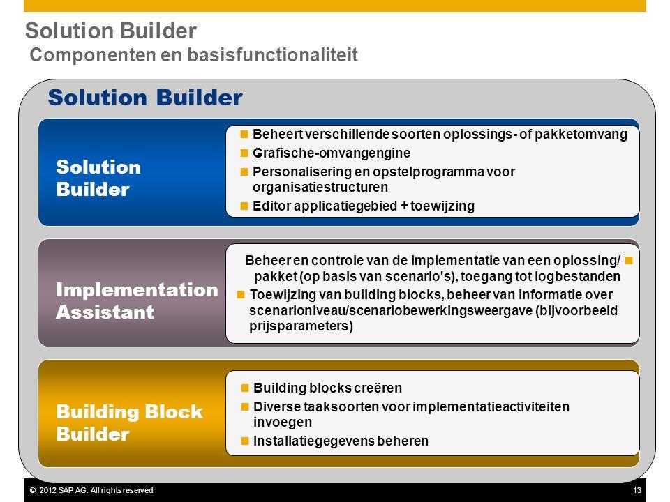 ©2012 SAP AG. All rights reserved.13 Solution Builder Assistant d'implémentation Building Block Builder Solution Builder Componenten en basisfunctiona
