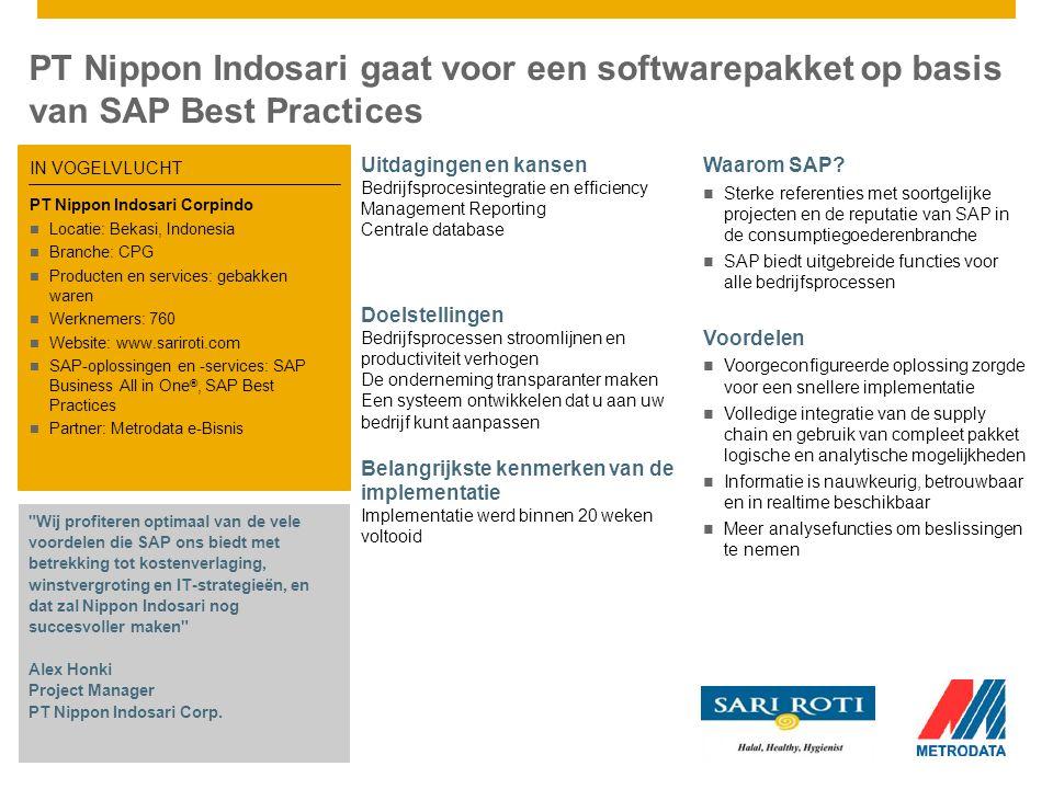 PT Nippon Indosari gaat voor een softwarepakket op basis van SAP Best Practices Uitdagingen en kansen Bedrijfsprocesintegratie en efficiency Management Reporting Centrale database Doelstellingen Bedrijfsprocessen stroomlijnen en productiviteit verhogen De onderneming transparanter maken Een systeem ontwikkelen dat u aan uw bedrijf kunt aanpassen Belangrijkste kenmerken van de implementatie Implementatie werd binnen 20 weken voltooid Waarom SAP.