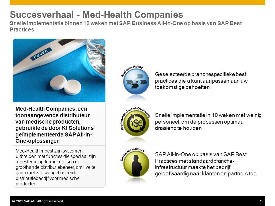 ©2012 SAP AG. All rights reserved.19 Geselecteerde branchespecifieke best practices die u kunt aanpassen aan uw toekomstige behoeften Succesverhaal -