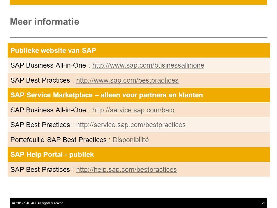 ©2012 SAP AG. All rights reserved.23 Meer informatie Publieke website van SAP SAP Business All-in-One : http://www.sap.com/businessallinonehttp://www.