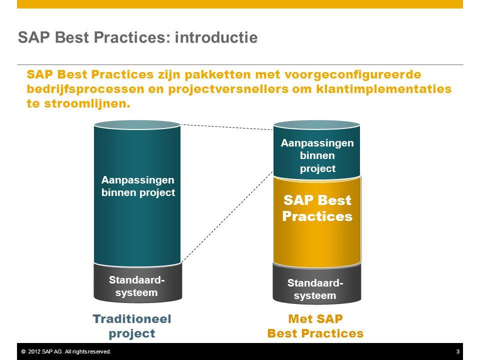 ©2012 SAP AG. All rights reserved.3 SAP Best Practices: introductie SAP Best Practices zijn pakketten met voorgeconfigureerde bedrijfsprocessen en pro