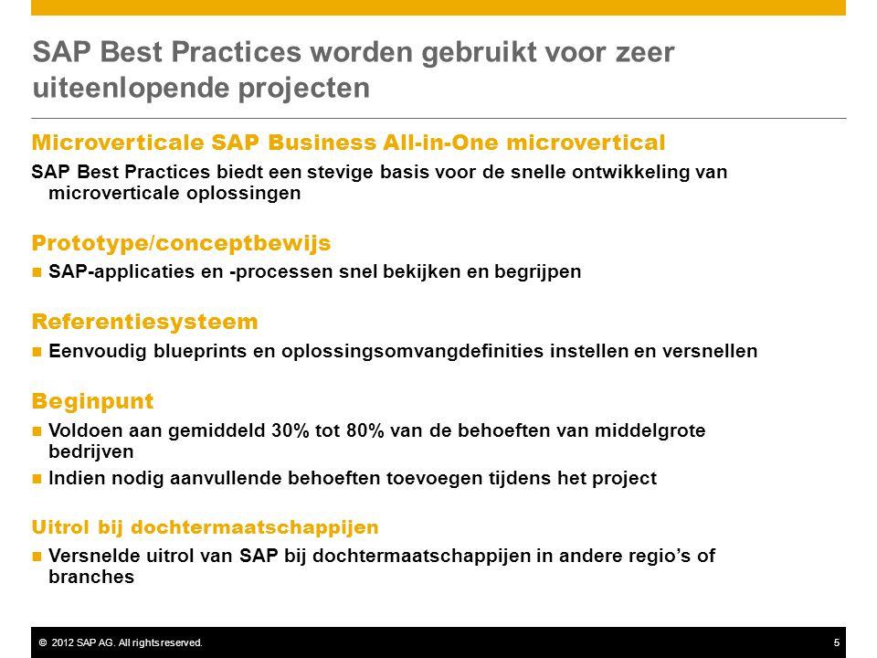 ©2012 SAP AG. All rights reserved.5 SAP Best Practices worden gebruikt voor zeer uiteenlopende projecten Microverticale SAP Business All-in-One microv