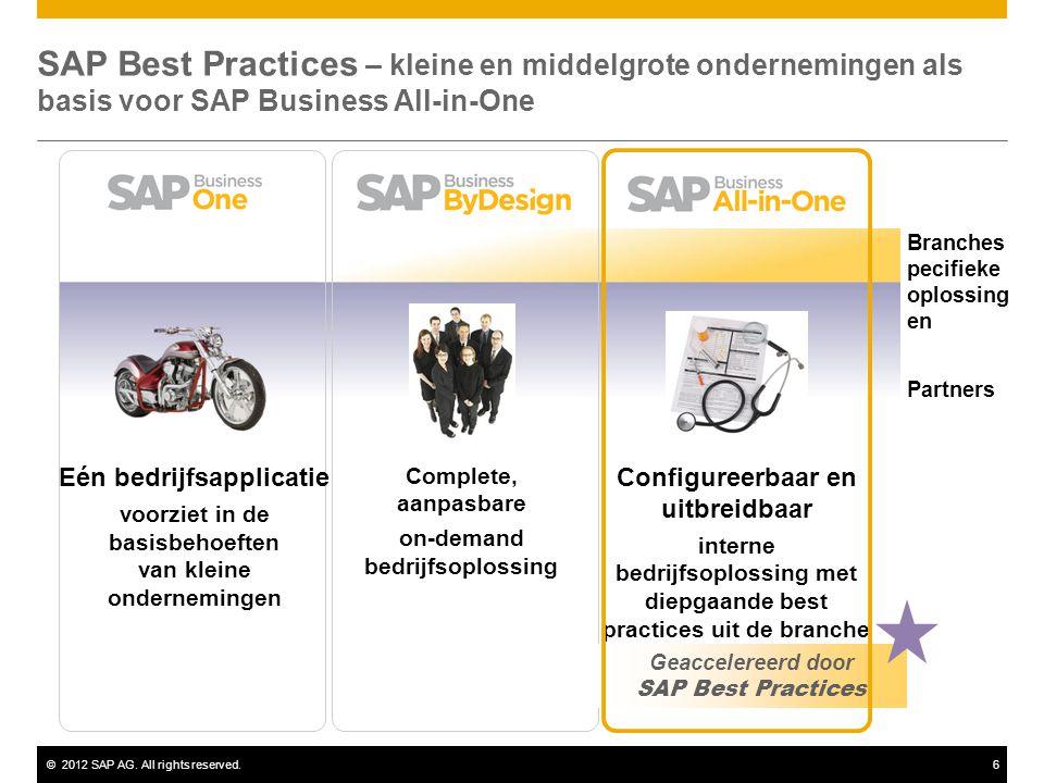 ©2012 SAP AG. All rights reserved.6 SAP Best Practices – kleine en middelgrote ondernemingen als basis voor SAP Business All-in-One Configureerbaar en