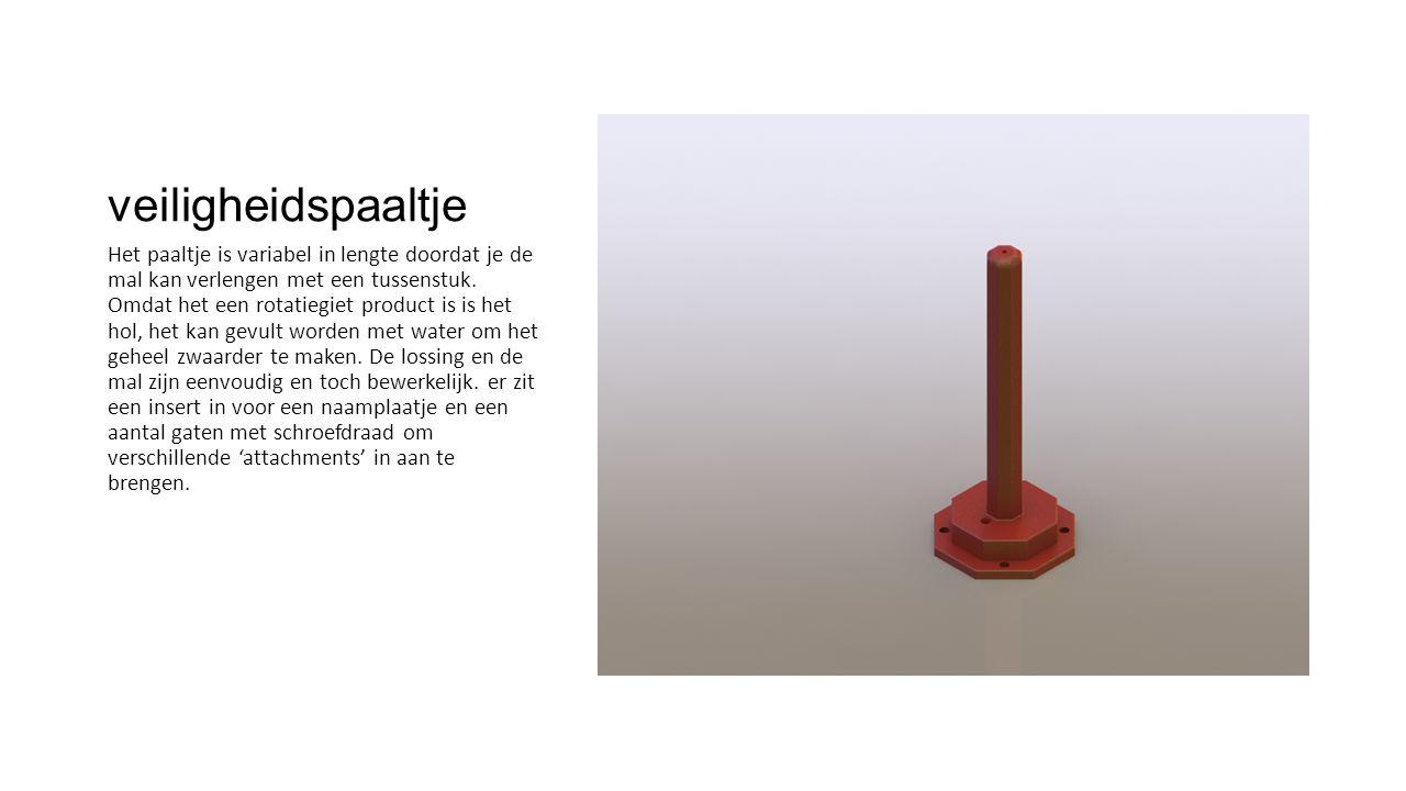 veiligheidspaaltje Het paaltje is variabel in lengte doordat je de mal kan verlengen met een tussenstuk. Omdat het een rotatiegiet product is is het h
