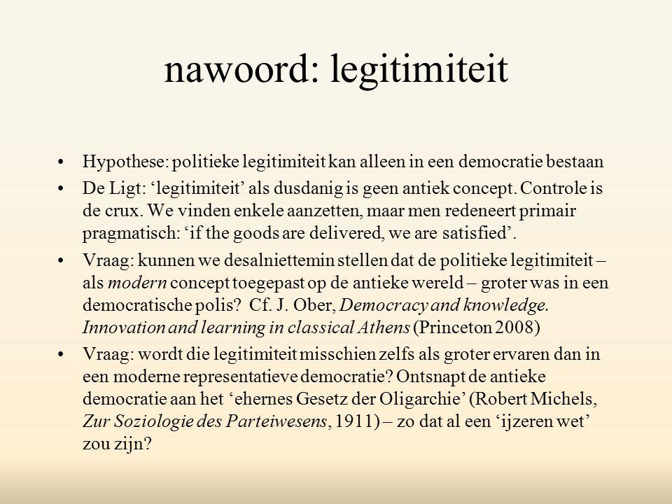 nawoord: legitimiteit Hypothese: politieke legitimiteit kan alleen in een democratie bestaan De Ligt: 'legitimiteit' als dusdanig is geen antiek concept.