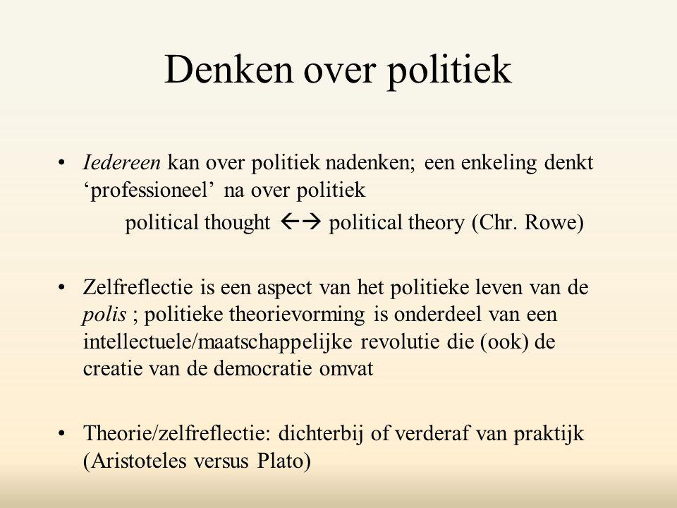 Denken over politiek Iedereen kan over politiek nadenken; een enkeling denkt 'professioneel' na over politiek political thought  political theory (Chr.