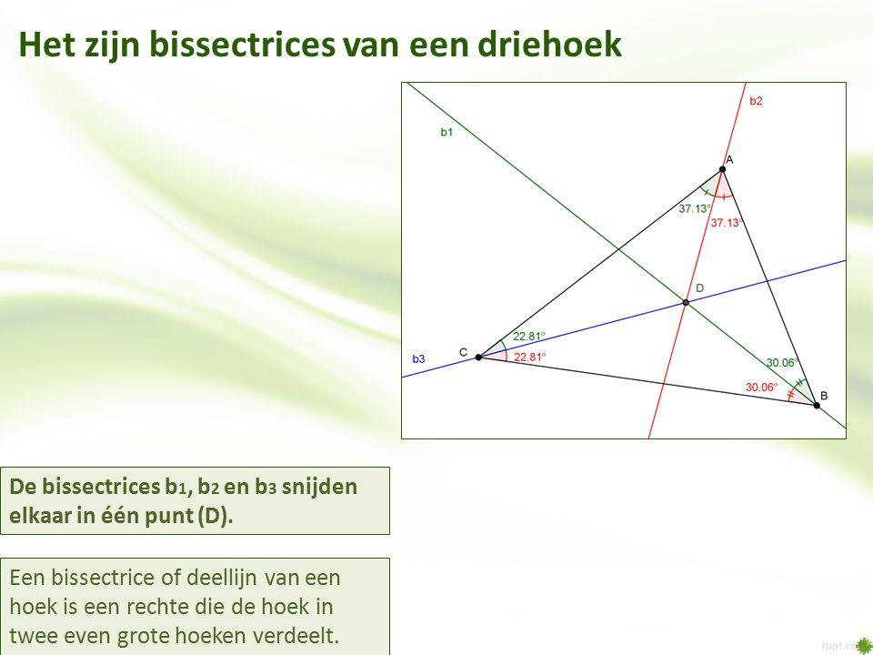 Het zijn bissectrices van een driehoek Een bissectrice of deellijn van een hoek is een rechte die de hoek in twee even grote hoeken verdeelt. De bisse