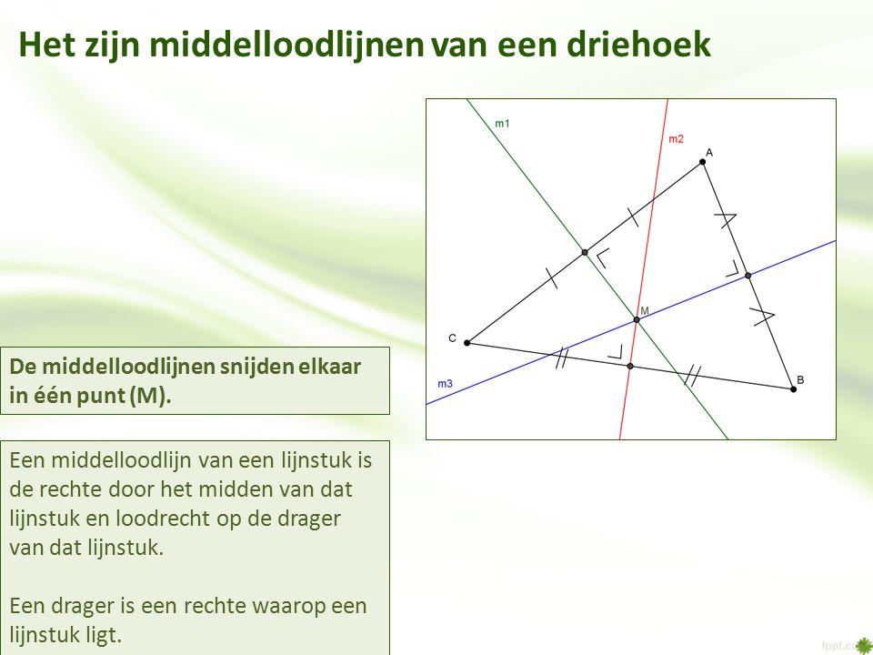 Het zijn middelloodlijnen van een driehoek Een middelloodlijn van een lijnstuk is de rechte door het midden van dat lijnstuk en loodrecht op de drager