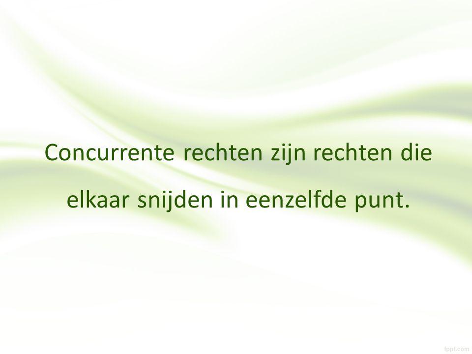 Concurrente rechten zijn rechten die elkaar snijden in eenzelfde punt.