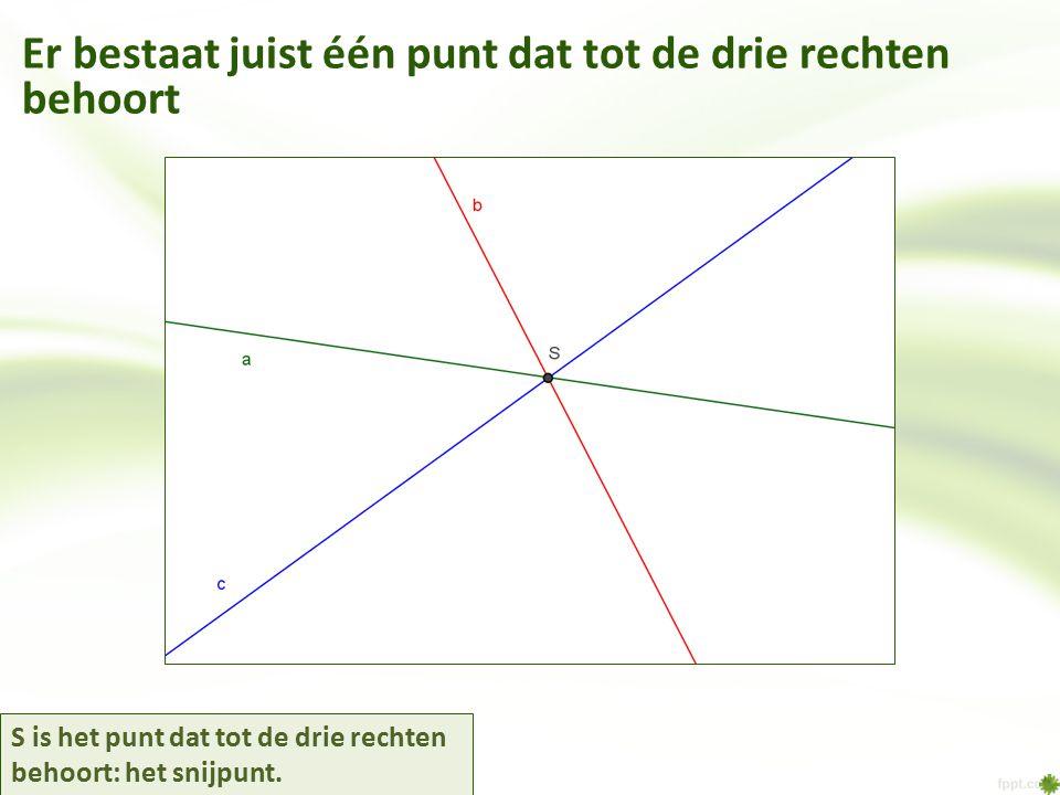 S is het punt dat tot de drie rechten behoort: het snijpunt. Er bestaat juist één punt dat tot de drie rechten behoort