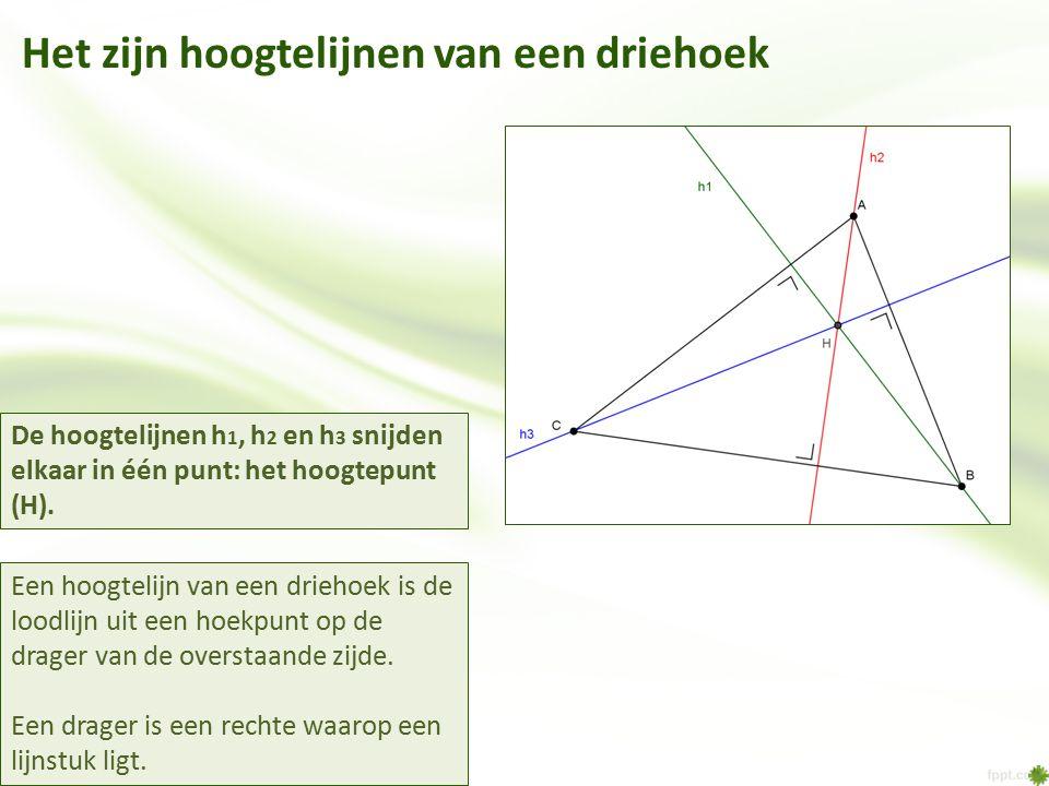 Het zijn hoogtelijnen van een driehoek Een hoogtelijn van een driehoek is de loodlijn uit een hoekpunt op de drager van de overstaande zijde. Een drag