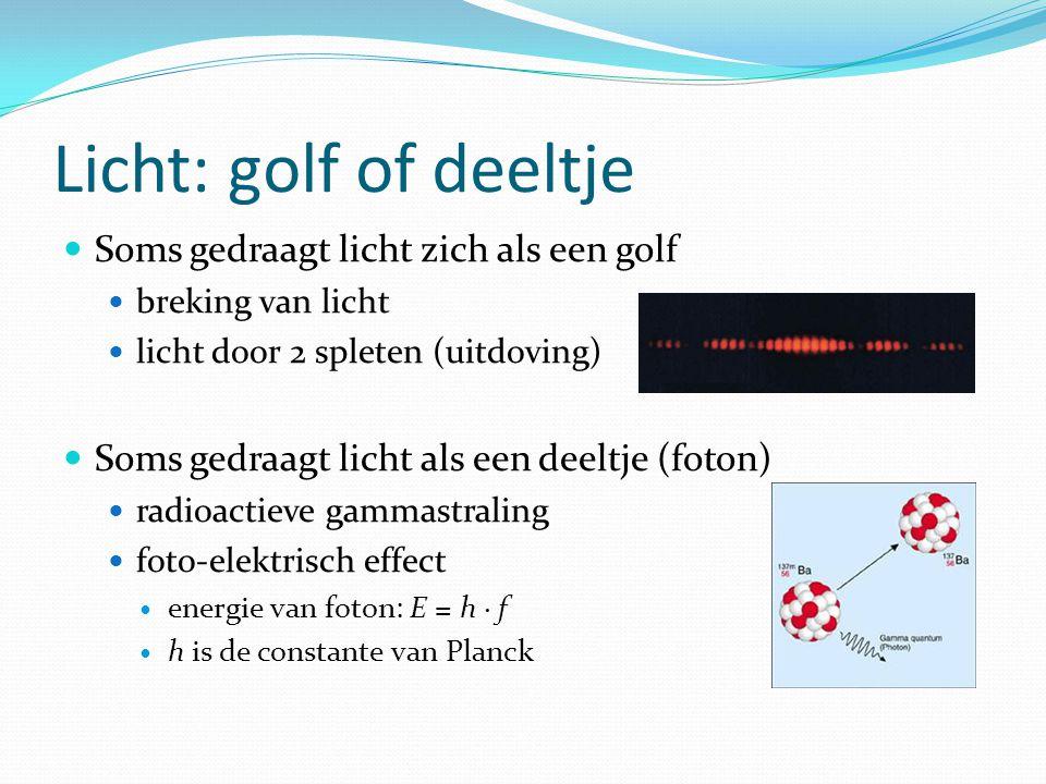 Licht: golf of deeltje Soms gedraagt licht zich als een golf breking van licht licht door 2 spleten (uitdoving) Soms gedraagt licht als een deeltje (f