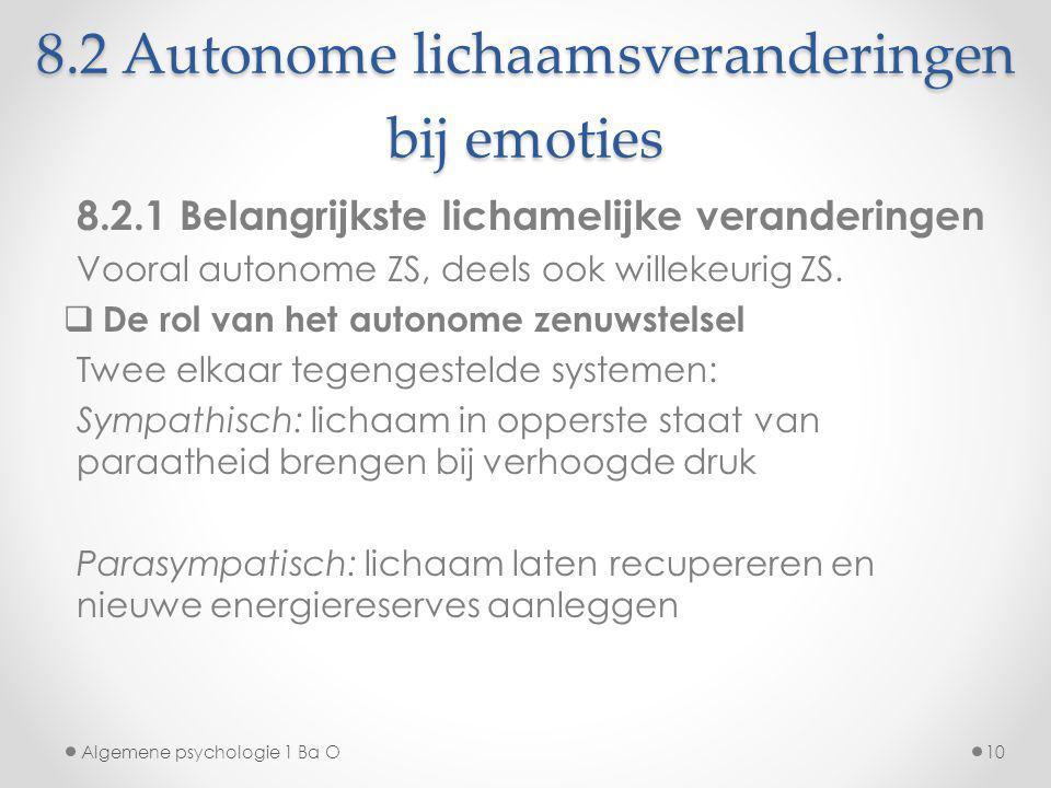 8.2 Autonome lichaamsveranderingen bij emoties 8.2.1 Belangrijkste lichamelijke veranderingen Vooral autonome ZS, deels ook willekeurig ZS.  De rol v