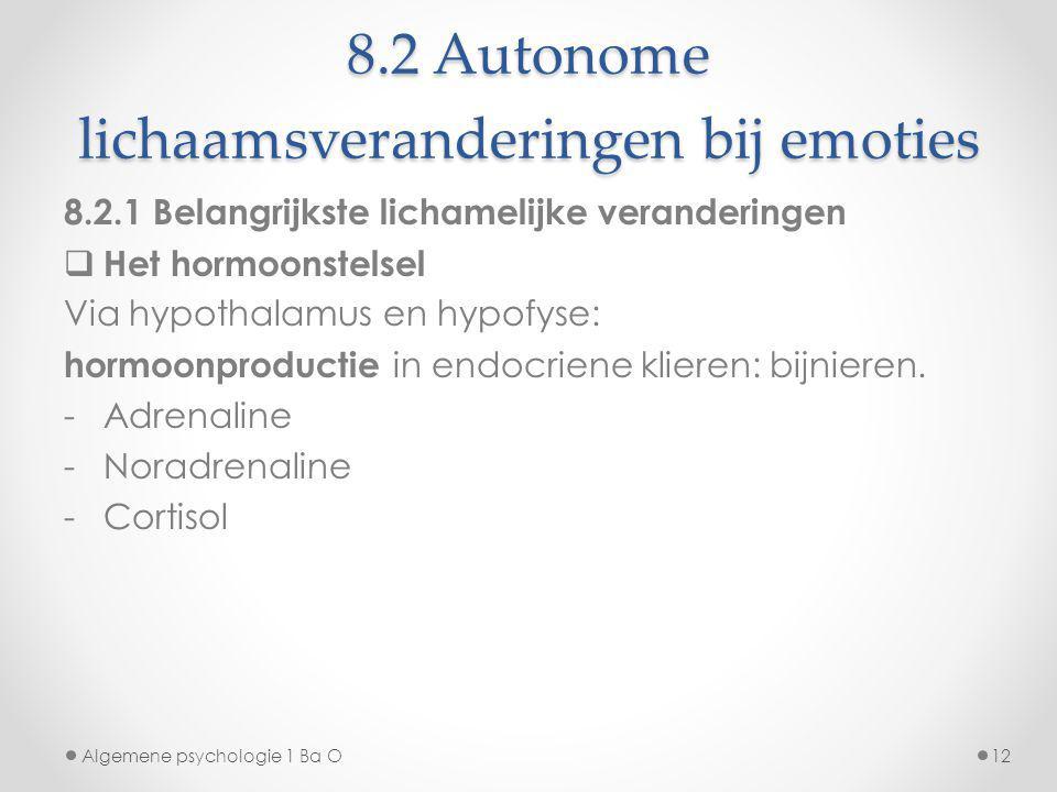 8.2 Autonome lichaamsveranderingen bij emoties Algemene psychologie 1 Ba O12 8.2.1 Belangrijkste lichamelijke veranderingen  Het hormoonstelsel Via h