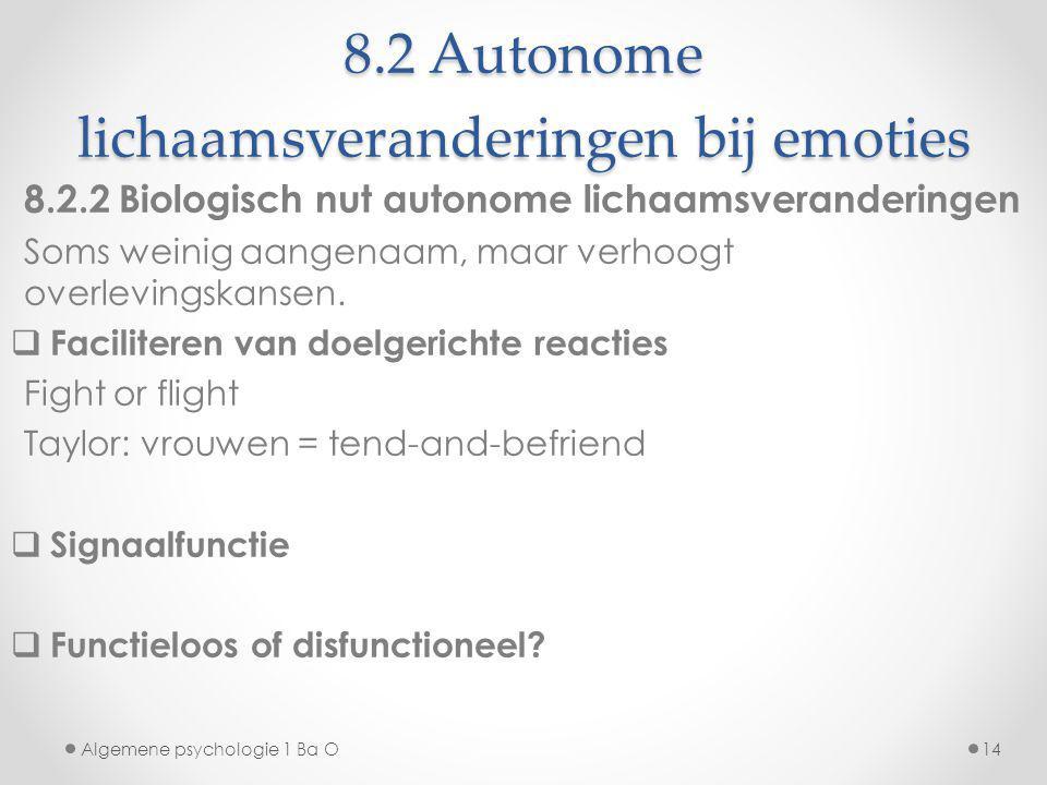 8.2 Autonome lichaamsveranderingen bij emoties 8.2.2 Biologisch nut autonome lichaamsveranderingen Soms weinig aangenaam, maar verhoogt overlevingskan