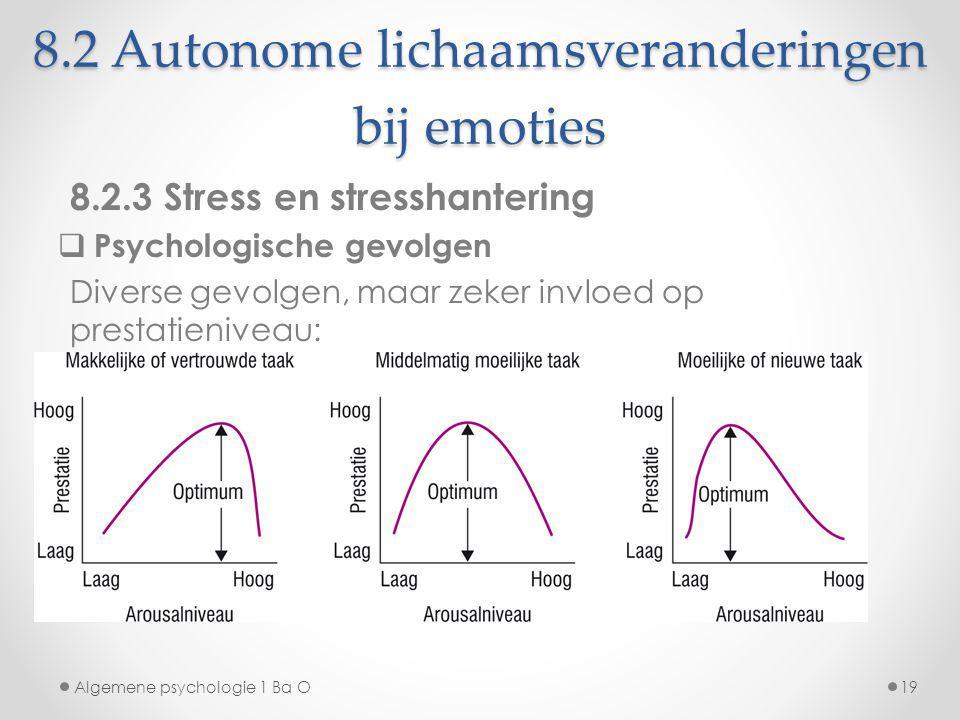 8.2 Autonome lichaamsveranderingen bij emoties 8.2.3 Stress en stresshantering  Psychologische gevolgen Diverse gevolgen, maar zeker invloed op prest
