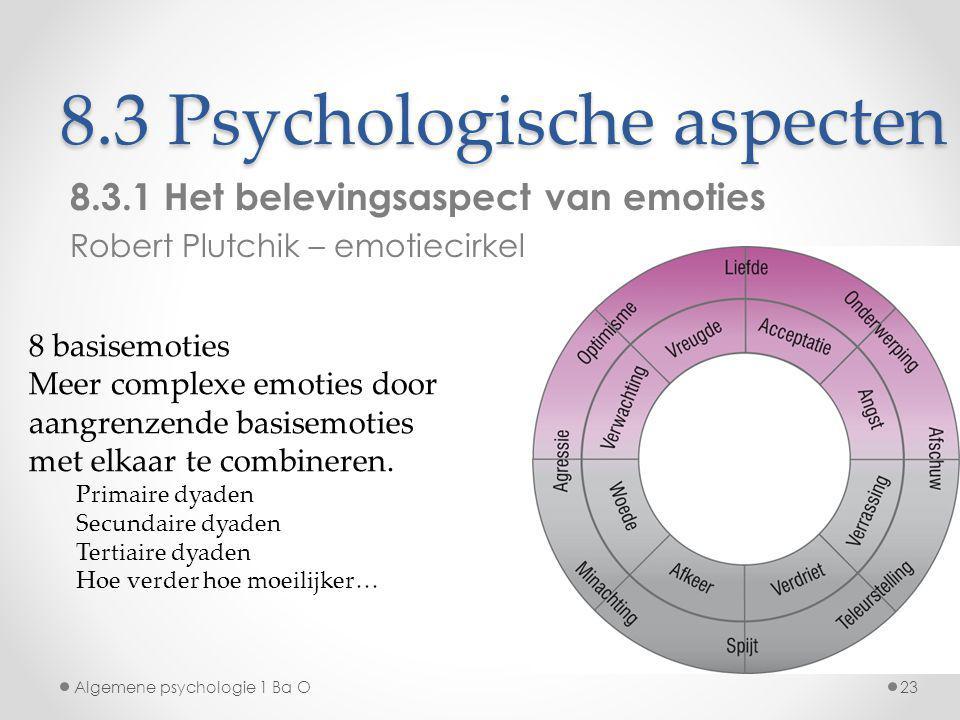 8.3 Psychologische aspecten 8.3.1 Het belevingsaspect van emoties Robert Plutchik – emotiecirkel Algemene psychologie 1 Ba O23 8 basisemoties Meer com